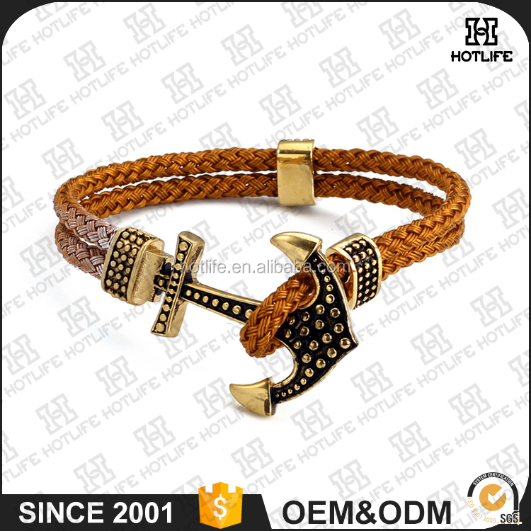 2016 New Designs Fashion Charm Endless Jewelry 316L Stainless Steel Sport Fitness Anchor Stingray Bracelet Leather