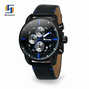 New Arrival Custom Logo Men Wristwatch Calendar Luxury Genuine Leather Watch