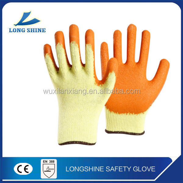 high quality ce certification yellow latex coated safety glove for Construction electric works