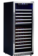 r600a fridge freezers wine chiller with LED light champagne display stand USF-128D(128-155Bottles 380L)