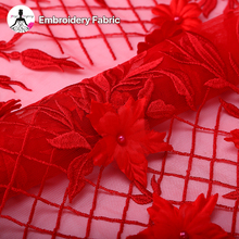 alibaba wholesale supply red mesh fabric lace trim embroidery designs for wedding dress