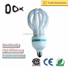 Lotus shape 4U 65w E27 E14 tri color cfl lamp wholesale
