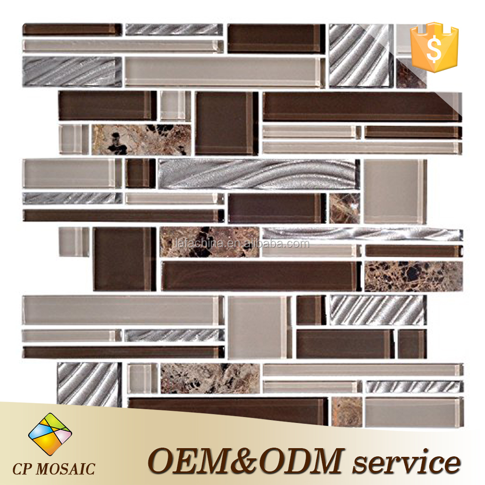 8mm Thickness arabic Glass/Stone Blend Mesh-mounted Mosaic Tile Sheet for Kitchen Backsplash Bathroom