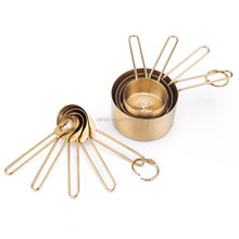 gold colour titanium coating measuring cup and spoon sets