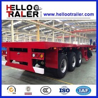 12.00R20 Tire 28 tons Landing Gear Three Axle Flatbed Container Trailer