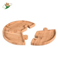 Bamboo Bulit-up Round Serving Tray Party Platters for Tea,Coffee,Wine,Fruit,Tapas,Dessert