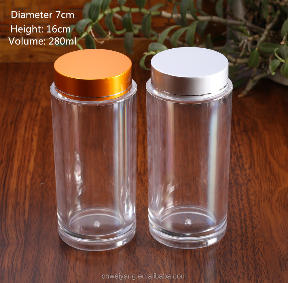 Factory sale clear plastic jar acrylic medicine capsule pill bottle for healthy care