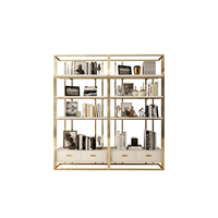Elegant stylish gold metal bookshelf wood drawer bookcase