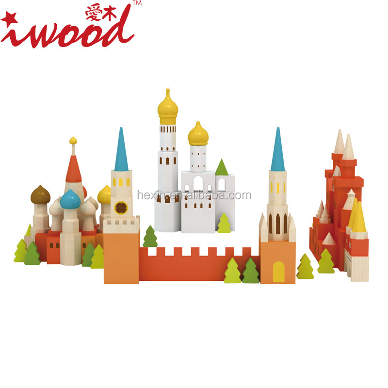 Wooden building city toy Moscow creative blocks