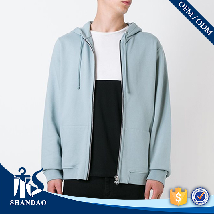 Guangzhou Factory Direct Sale 35% Cotton 65% Polyester Light Blue Zipper-up Long Sleeve drawstring hoodie