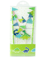 New DIY Dinosaurs Paper Party Decoration Cake Wrapper Flag Set