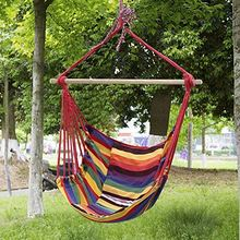 HOT250 Outdoor Canvas Striped Hanging Hammock Rope Swing Seat Chair