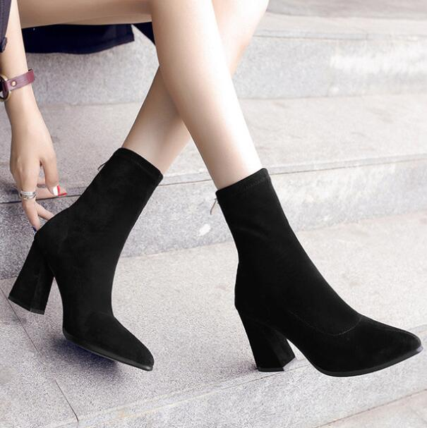 zm36095a Snow Winter Women High Heel Boots with elastic
