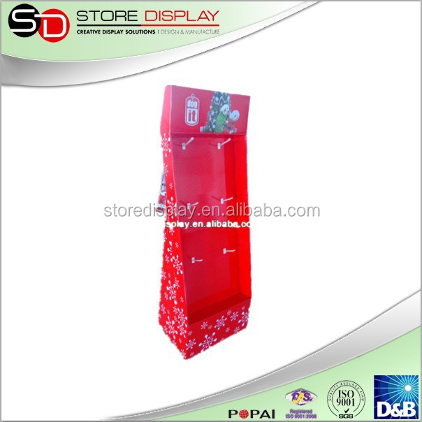 Floor Display Stand with Spot Color and Hooks For Promotion / Recycled Material Cardboard Display Stand