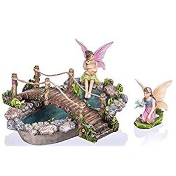 Customize Fairy Garden Fish Pond Kit - Miniature Hand Painted Figurine Statues with Accessories