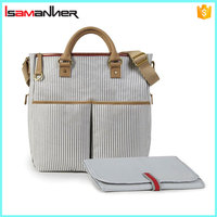 Isamanner wholesale travel baby nappy changing bag with changing pad