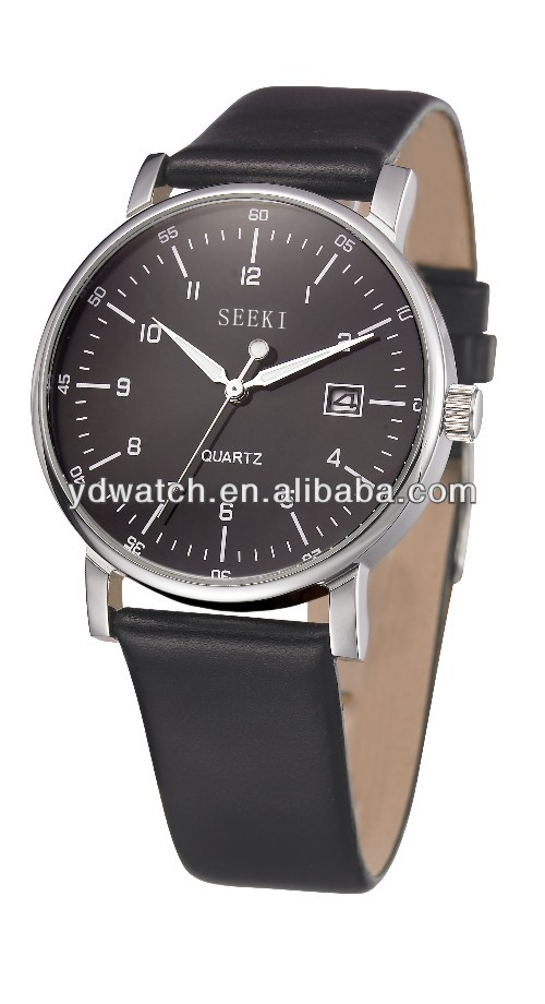 Stainless steel mens watch leahter band