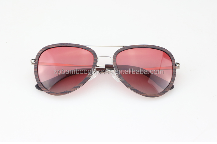 New Custom Design Ladies Gradient Purple Sandal Wood Metal Arm Sunglasses With Double Bridge