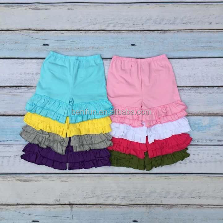 wholesale baby girls ruffle cotton shorts double layer knit custom shorts for kids
