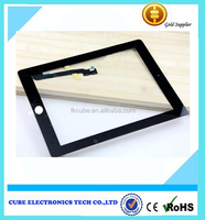 Free shipping for ipad3 4 black and white touch screen glass with flex cable touch digitizer for ipad 3 for ipad 4