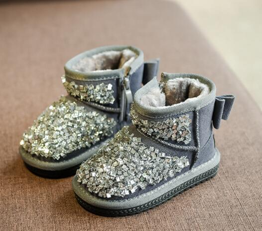 Beautiful girls thermal crystal decoration snow boots