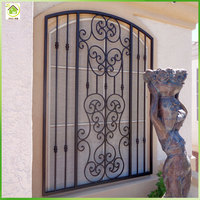 Free customized window iron bars decorative security grills design for house windows