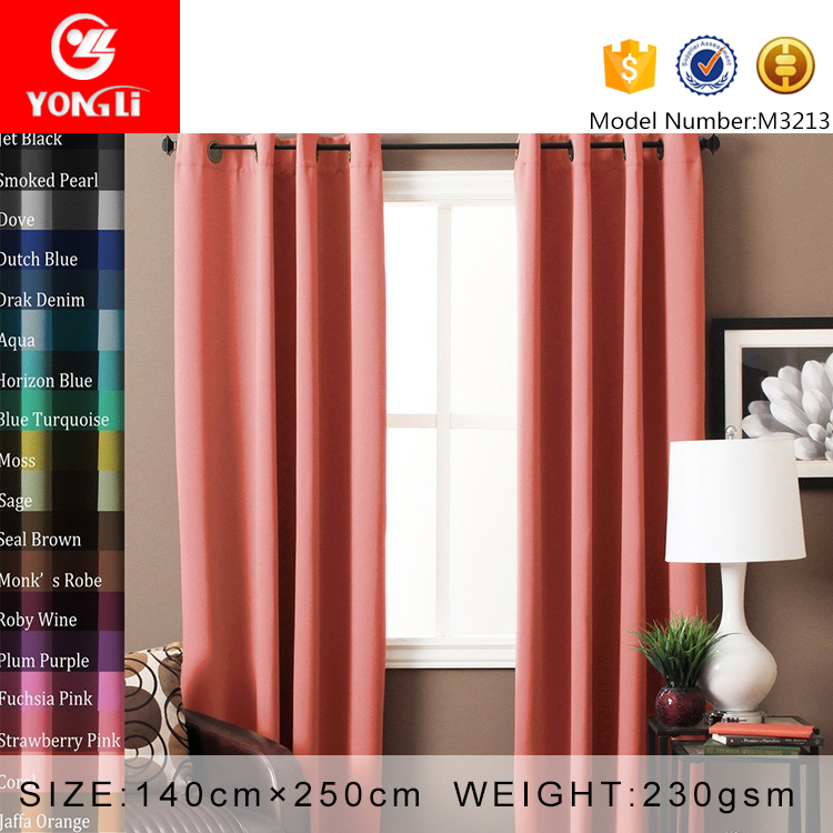 China factory sale coral 100% polyester blackout window curtains of bedroom