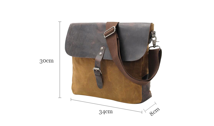 High-grade retro casual shoulder mens leather canvas wholesale naked men messenger bag
