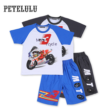 2017 Summer Wholesale 2Pcs Kids Clothes Motor Cycle 3D Digital Printing Patterned Raglan Shirts