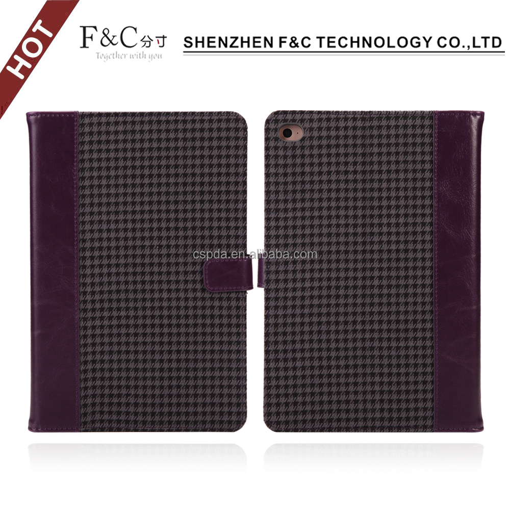 Precision stitching PC shell stand Canvas Houndstooth fabric smart cover for ipad mini 2 case with card pocket