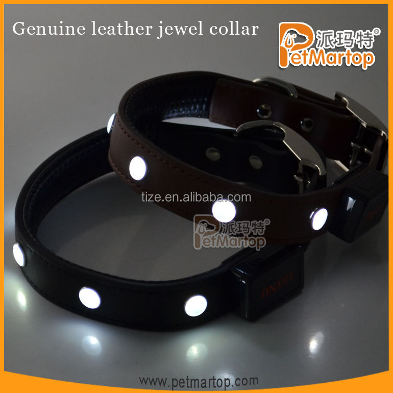 Easy sell items 2016 leather collar pets supplies led lighting products leather dog collar