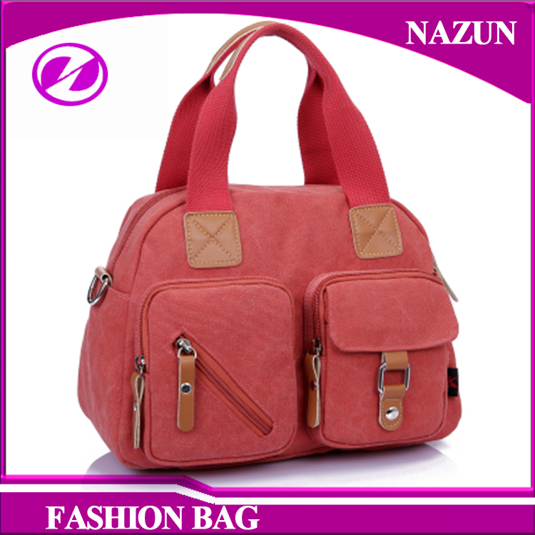 Wholesale Fashion Casual Ladies Eco Friend Vintage Canvas lady Tote Bag with two Pockets