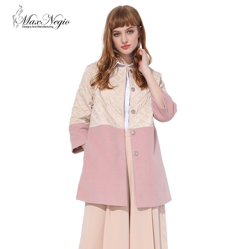 Maxnegio wholesale cotton-padded pink wool jackets ladies winter coat