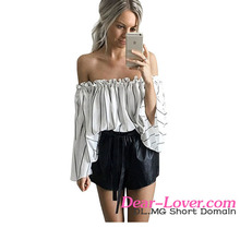 Stylish Cheap Black Stripes Print Ruffled Bell Sleeve off shoulder top women