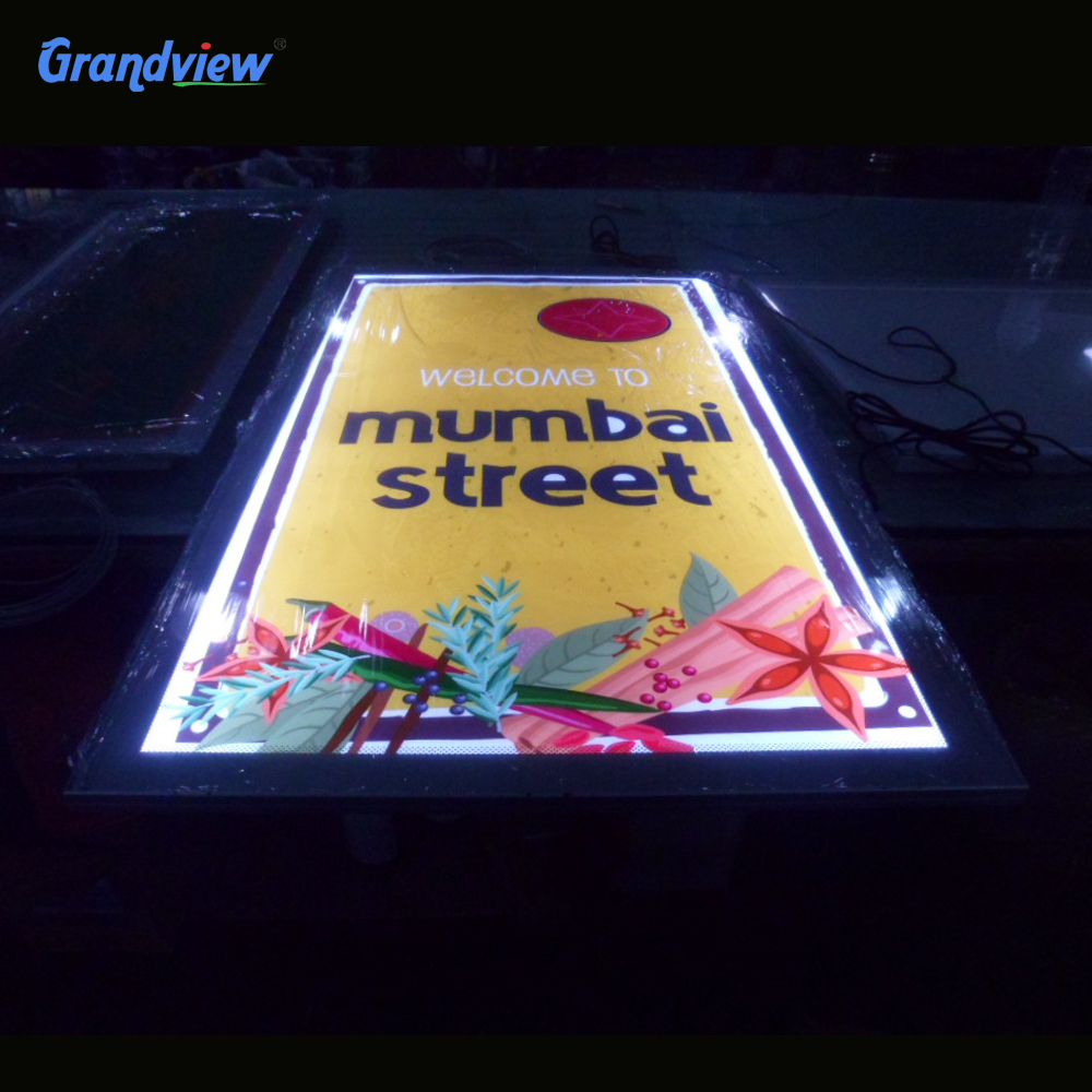 Wall mounted A2 led backlit crystal panel menu board for restaurant display