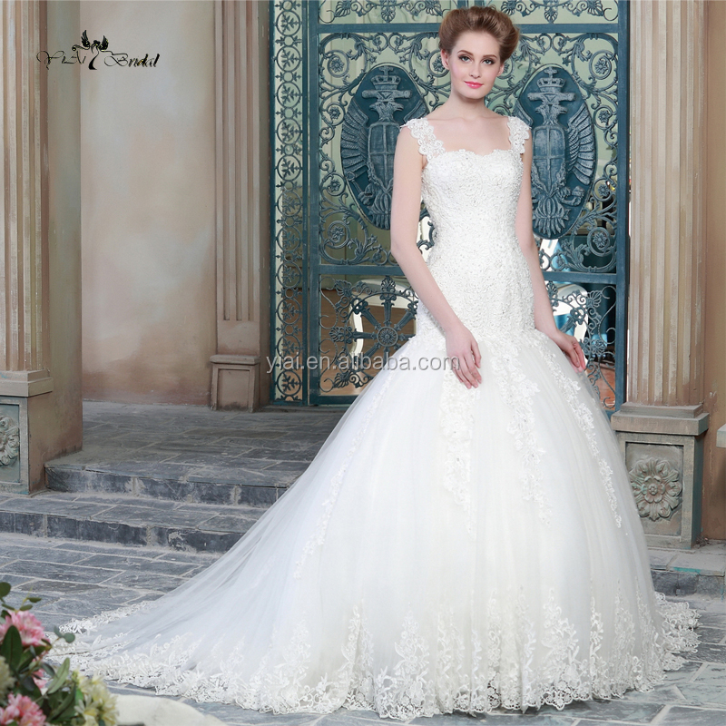 RQW-22 Suzhou Venice Lace Mermaid Bridal Gown For Mature Women