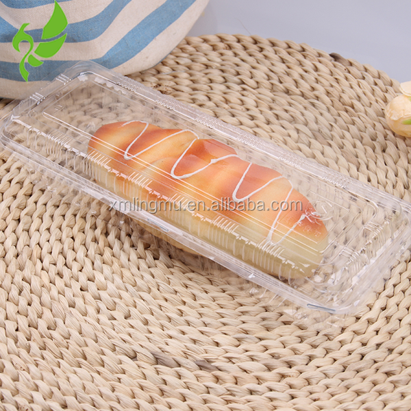 Clear Hinged Plastic French bread Container, Small clear plastic clamshell cake box