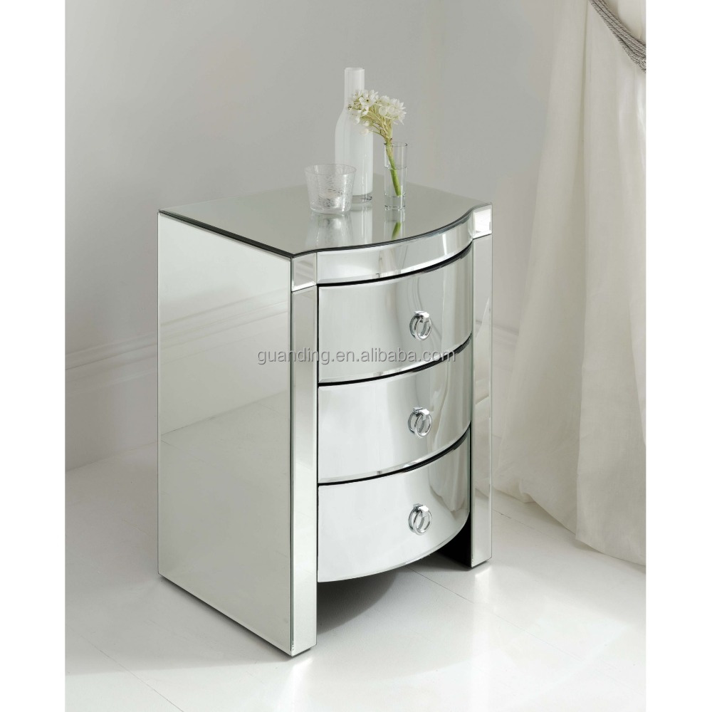 New modern bedroom furniture mirror bedside table buy for Mirror bedside table
