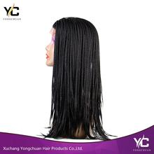 wholesale products synthetic lace frontal box braid wig, micro braids front lace wig with baby hair