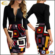 OEM 2015 wholesale lady Deep-V Neck 2/3 Sleeve Above Knees women's slim fit Sexy Business Dress