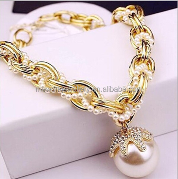 Adjustable large chains gold lady fashion imitation pearl necklace