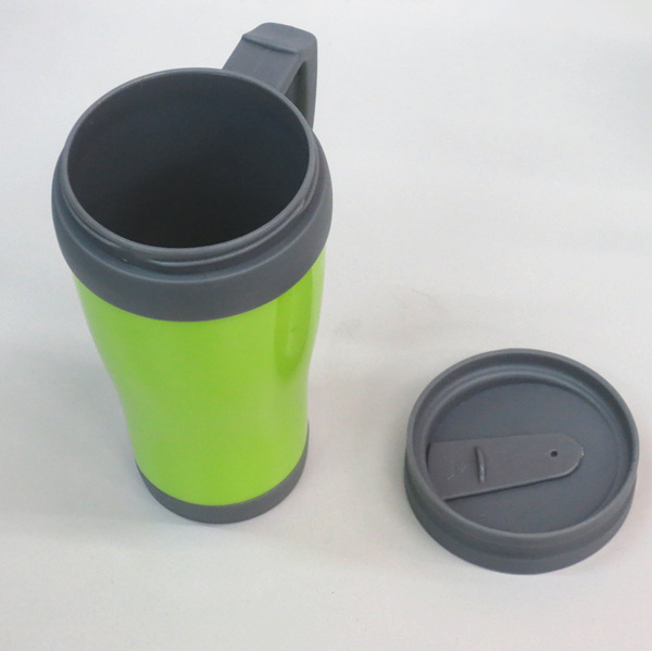coffee thermos plastic thermo mug with handle and lid