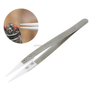 Non Conductive and Heat Resistant Precision Ceramic Tweezers With Stainless Steel Handle For Pinching Coils While Firing