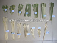 BBQ high quality natural Teppo bamboo skewers sticks round square gun bamboo skewers with green skin with LOGO with handle