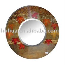 Round Mirror - Hand Printed with Golden Foil Red Leaves Round Mirror