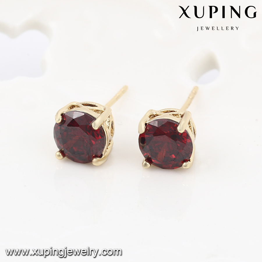 21834 xuping gold plated single stone earring designs , 14k gold color stud earrings