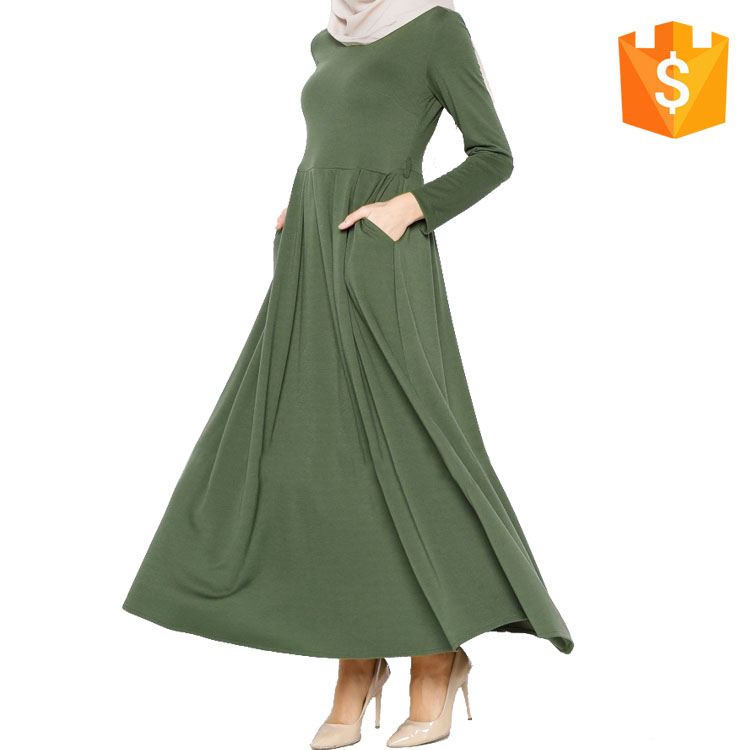 Dubai Women Long Sleeve Maxi Green Evening Dress Arabic Muslim Casual Abaya