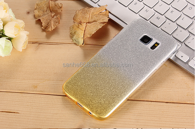 Premium New Product Soft free sample gradual change Contrast Color glitter tpu cell phone cases for samsung galaxy s6 edge
