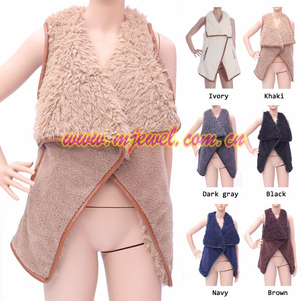 Factory furry reversible women vest