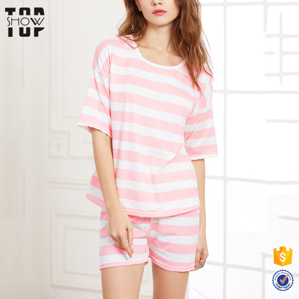 Guangzhou clothing factory striped comfort nightwear nighty sleeping clothes for women